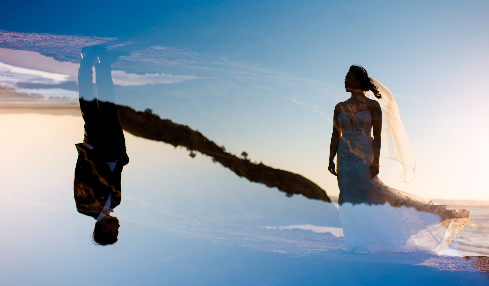 Unique and creative wedding photo at Byron Bay