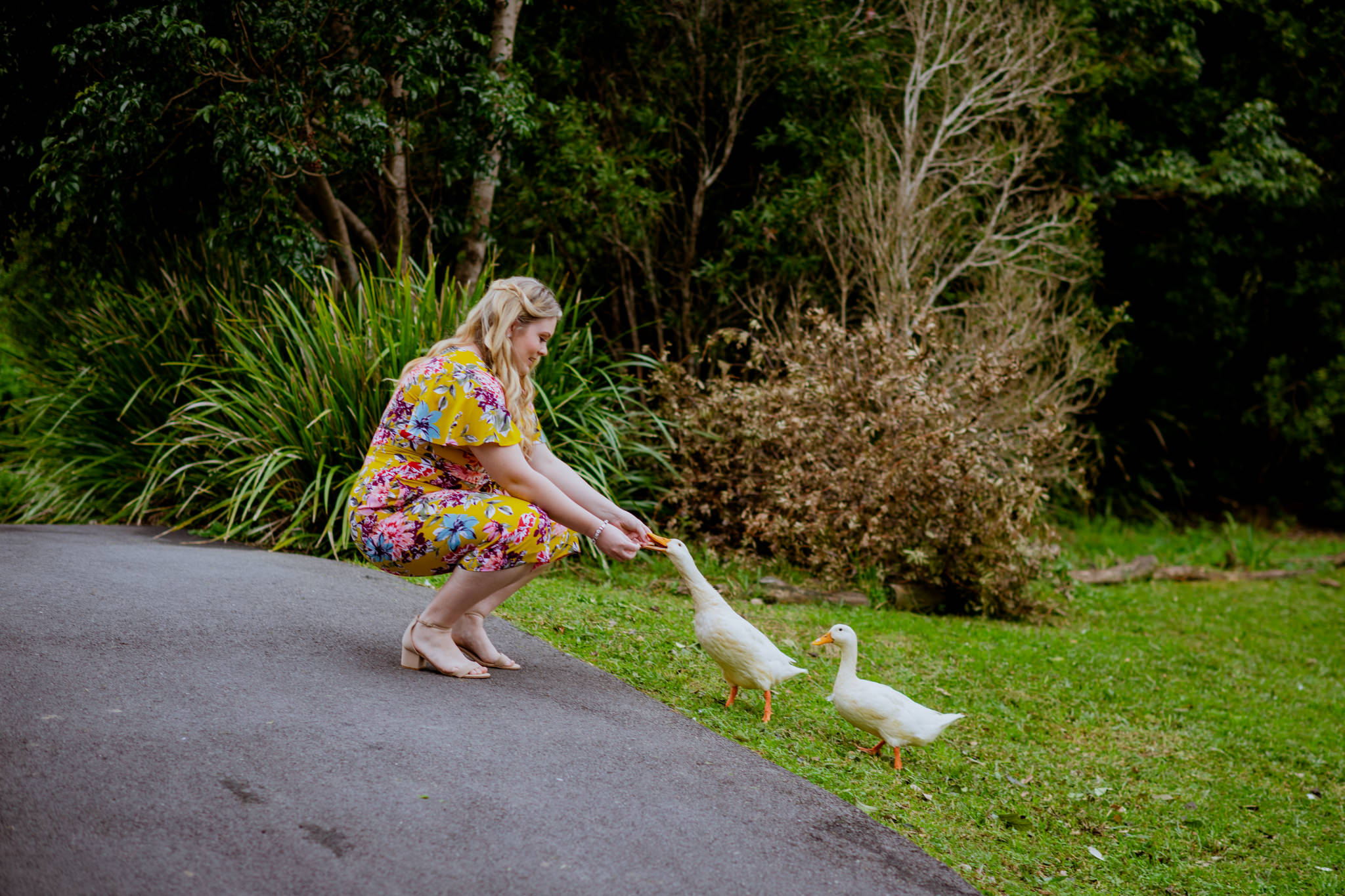 Girl in colourful dress squats down and feeds geese