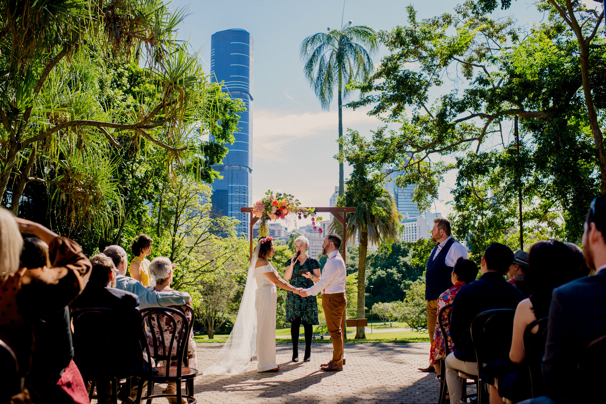 A wedding ceremony surrounded by trees at the Brisbane Botanic Gardens