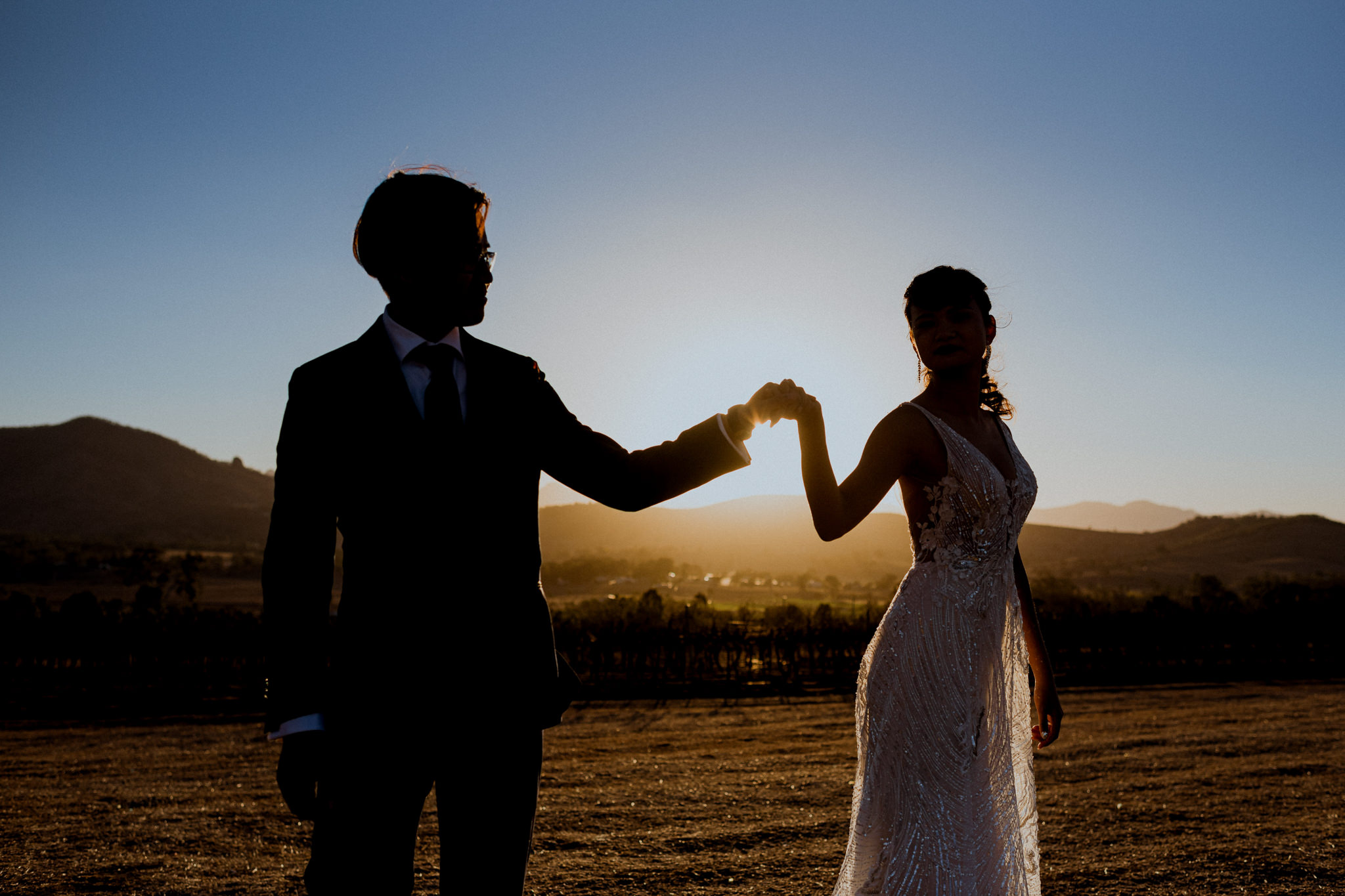 A couple hold hands, silhouetted against the setting afternoon sun