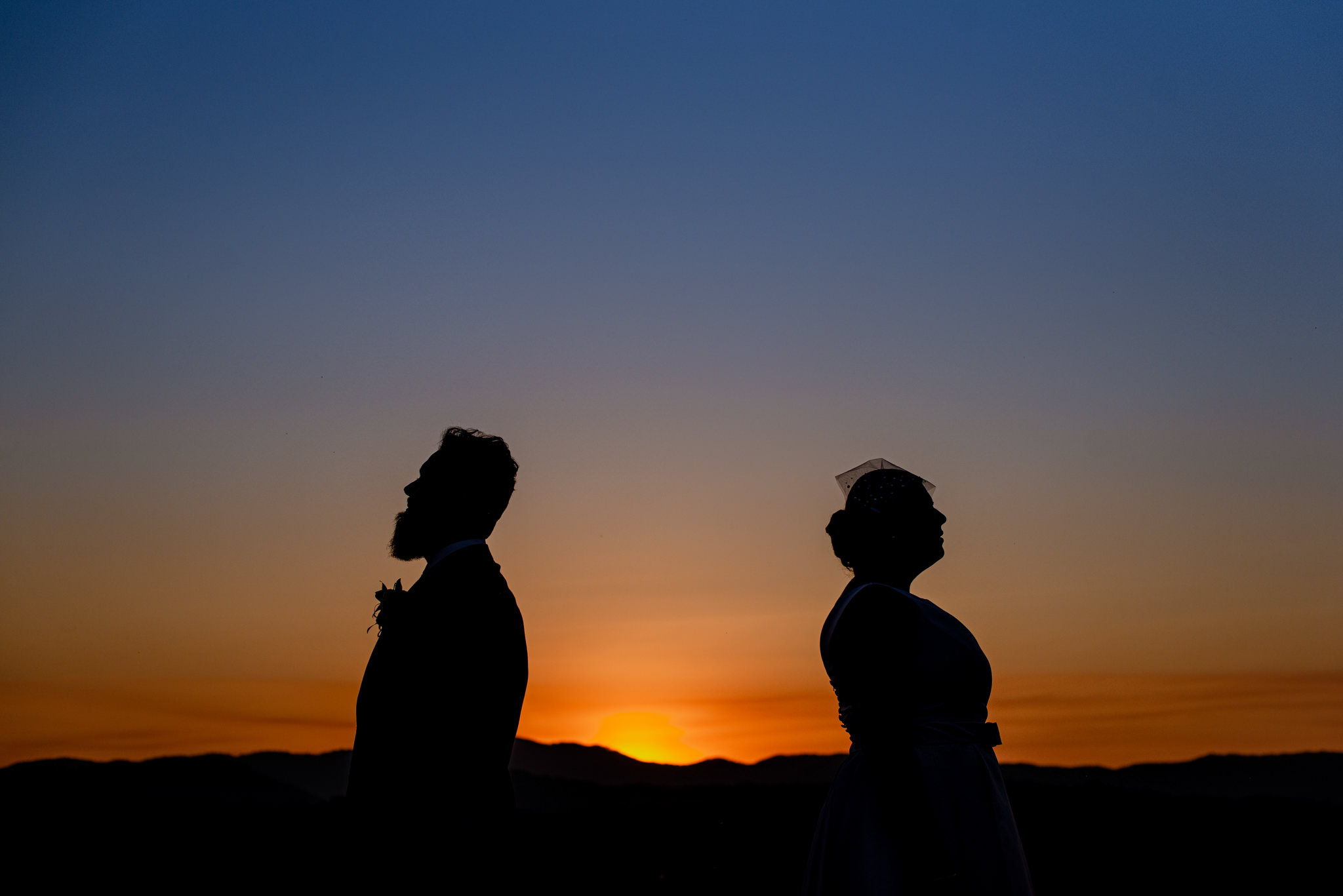 A silhouette of a bride and groom back to back against a vibrant sunset