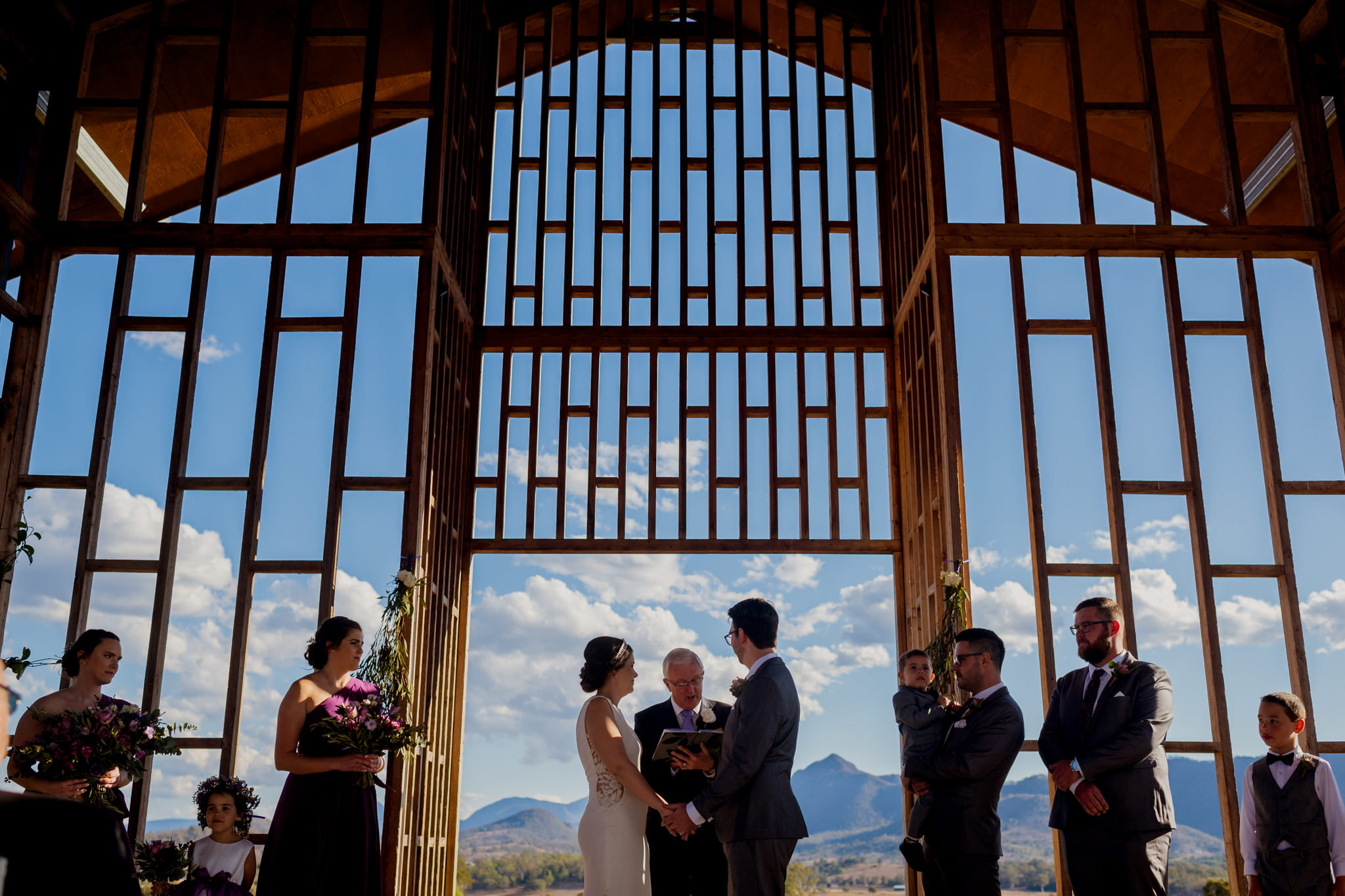 Wedding ceremony at Kooroomba Lavender Farm Chapel
