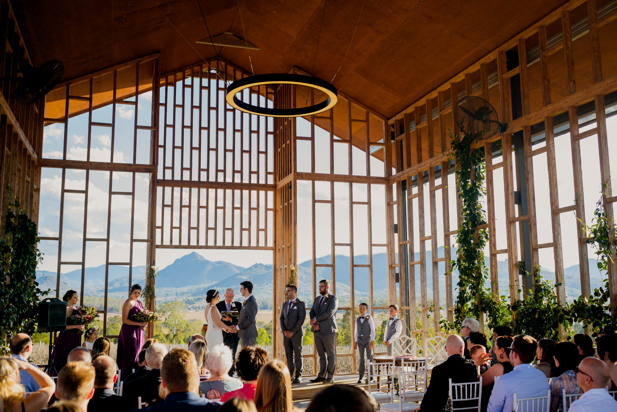 A wedding ceremony inside Kooroomba Lavender Farm's wedding chapel