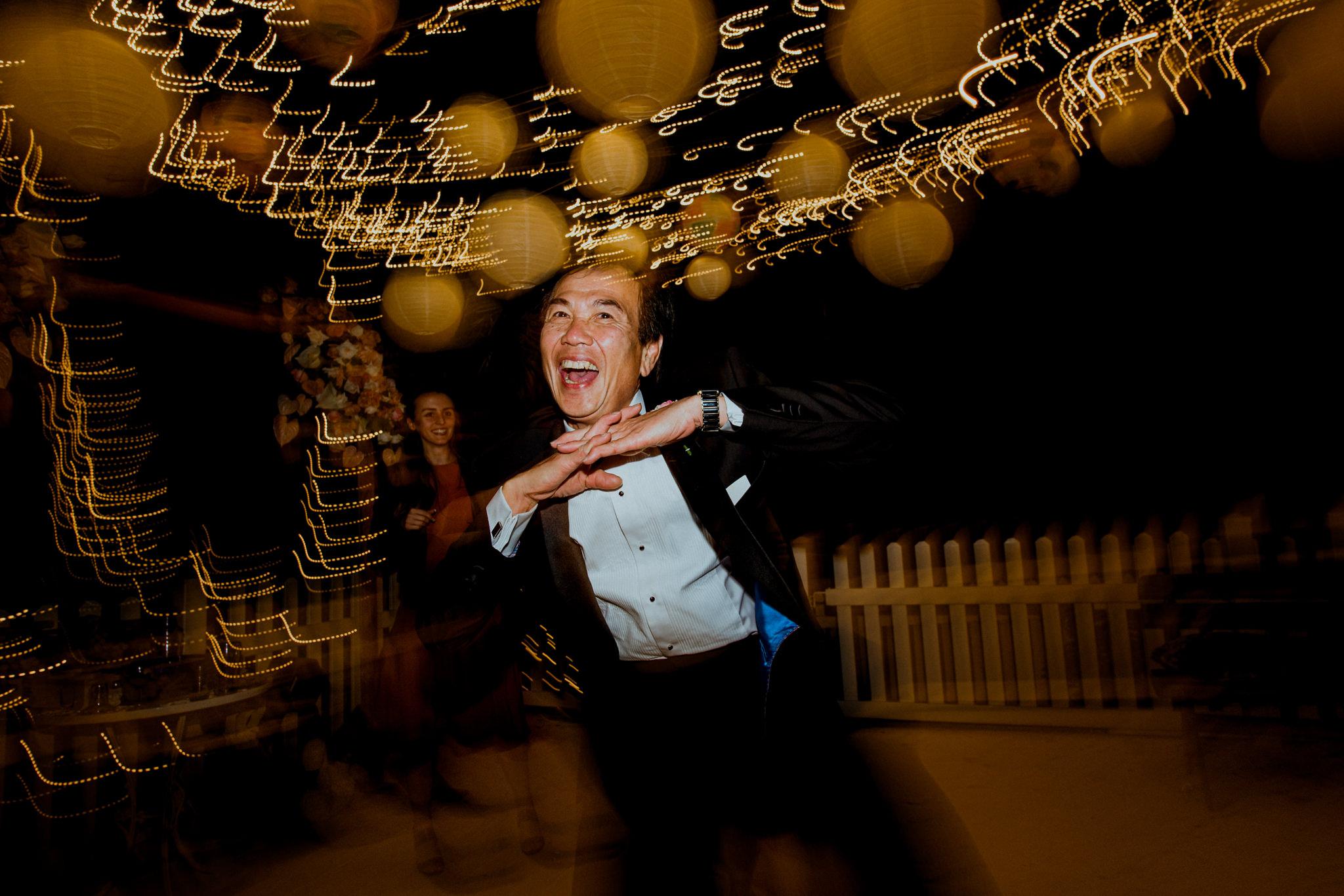 Party shot of a man dancing