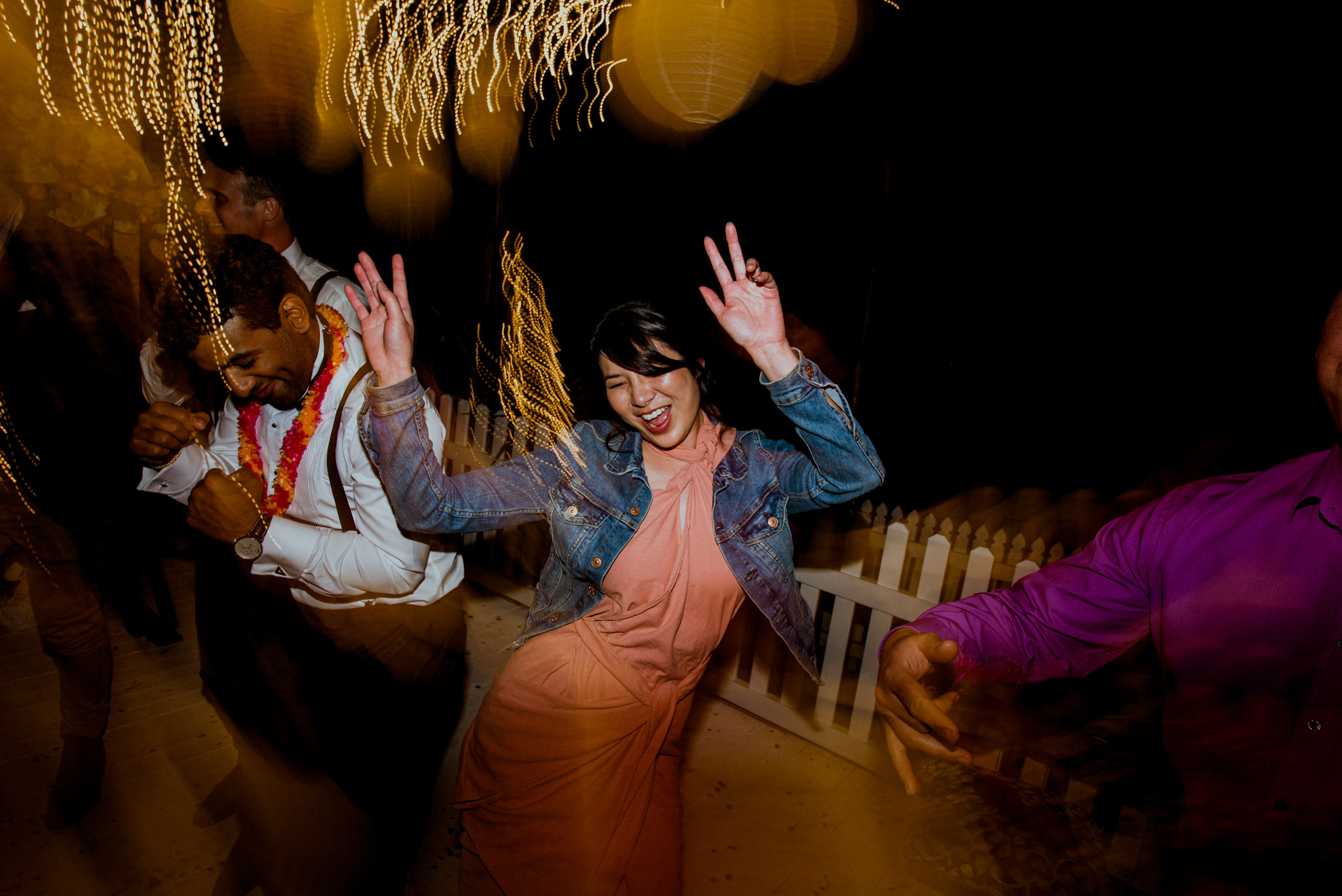 Party shot of people dancing together