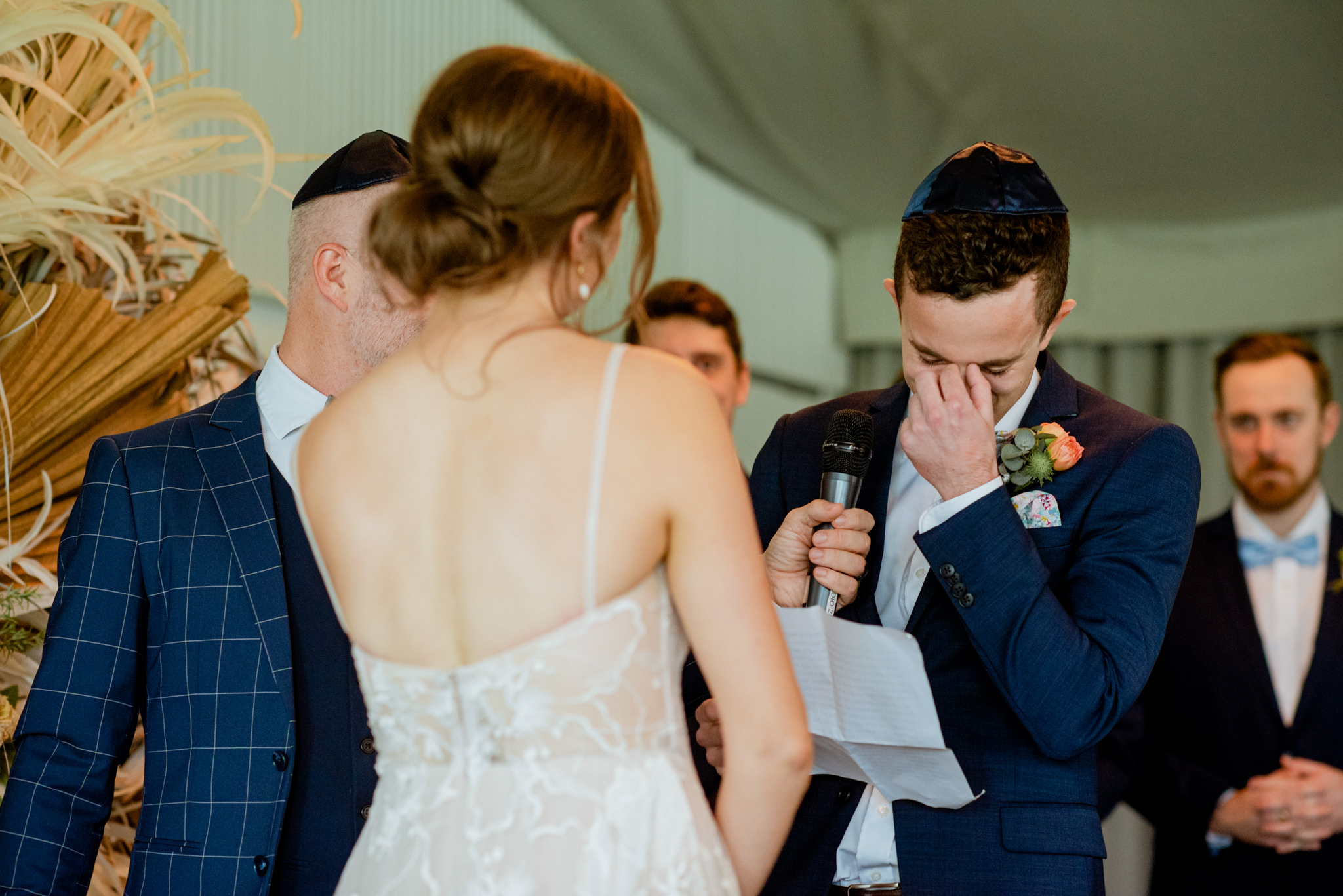 Groom cries as he delivers his wedding vows