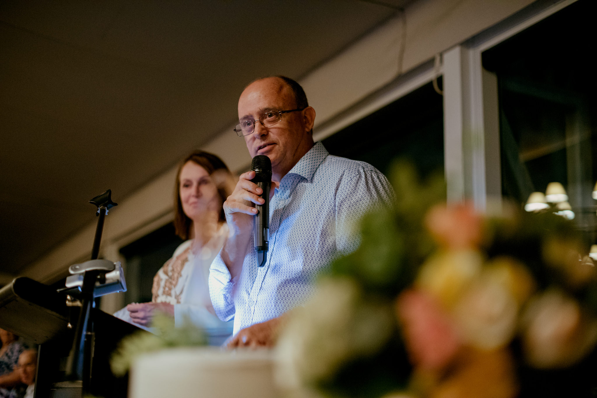 Father of the bride and mother deliver wedding speech