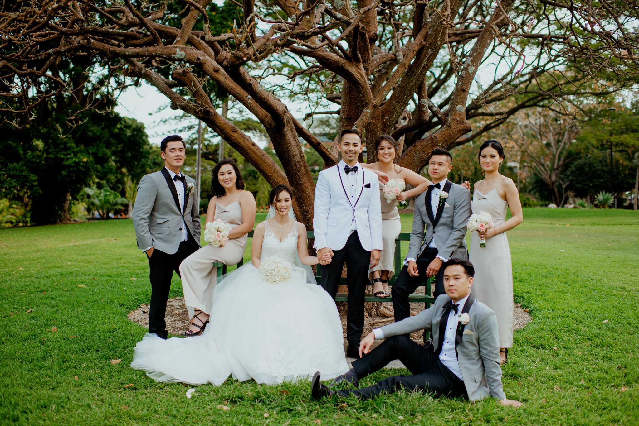 An Asian wedding party sit underneath a tree for a group photo