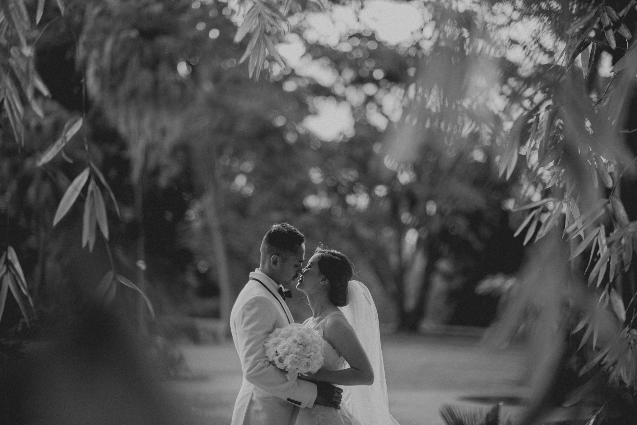 A bride and groom hug and kiss emotionally underneath bamboo trees