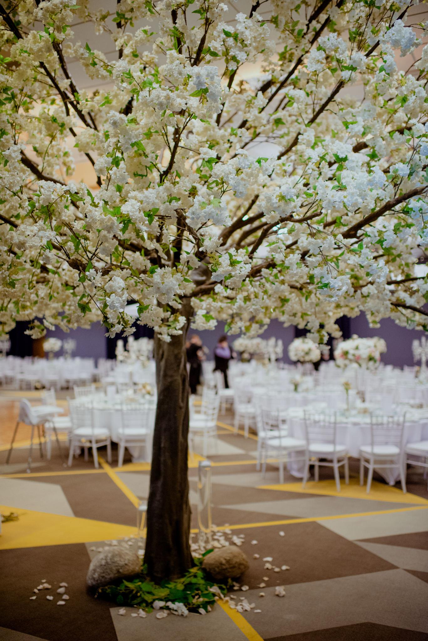 An indoor blossom tree installation decoration