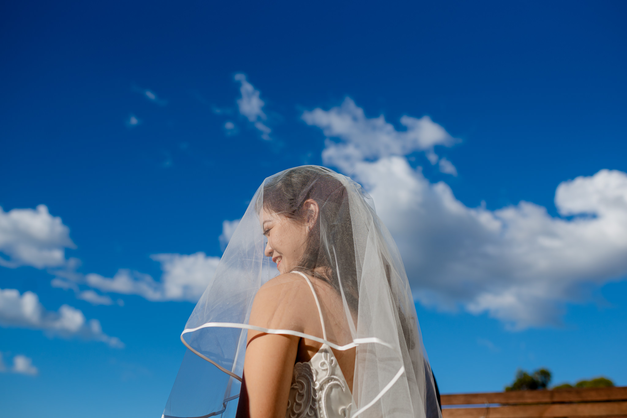 A veiled bride's head set against a backdrop of clouds and a vibrant blue sky